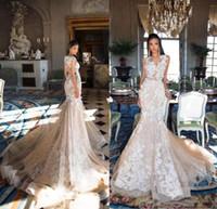 Milla nova 2019 vestidos de noiva lace 3d floral apliques sereia vestidos de noiva berta do vintage dubai lindo vestido de noiva robe de mariée