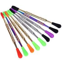 Colorido de ponta de silicone cera dab ferramenta de embalagem tubo de plástico de aço inoxidável cera óleo caneta dabber ferramentas de fumar ferramentas de metal dab ferramentas