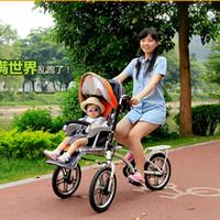 Moeder baby dubbele stoelen driewielers, ouderlijk auto, kinderwagen fiets, vouwfiets voor moeder baby