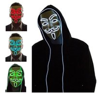Light Up LED Mask V for Vendetta Anonymous Guy Fawkes Costum...