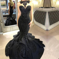 2018 Vintage Black Sleeveless Mermaid Evening Dresses Illusi...