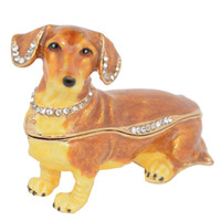 Dachshund الكلب مجوهرات حلية مربع الحيوان الطاولة pewter زخرفة الكلب عاشق هدية المنزل الملحقات الهدايا