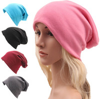 Unisex Knitted Cotton Hats Skullies 20 colors Women men Autu...