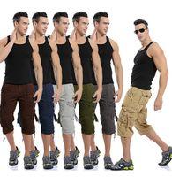 Calças de carga do homem cor pura solta capris hip hop skate moda calça para homem