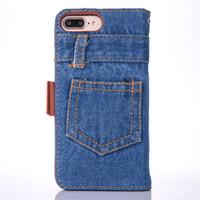 Retro Denim Tissu Téléphone Cas Pour Iphone 6 6s 7 7 Plus Cas Flip Stand Carte Slot Portefeuille Coque Sac Pour Iphone 7 6s Plus Couverture Capa