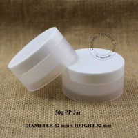 50pcs / lot 50g en plastique transparent + blanc PP Crème faciale rechargeable