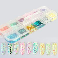 1Box Mixed Colorful Mermaid Nail Glitter Sequins Transparent...