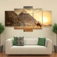 Lienzo HD Imprime Imágenes Arte de la Pared Para la Sala de estar Decoración para el hogar 5 Unidades Antiguo Egipto Pirámide Pinturas Faraón Cartel