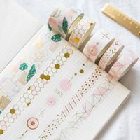 Fresh Pink Gold Foil Washi Tape Set Bricolaje Decorativo Scrapbooking Sticker Planificador Enmascaramiento Adhesive Tape Label Drop Shipping 2016