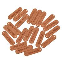 100 шт. Ретро коричневый синтетический PU кожи ручной работы этикетки метки DIY шить ремесло патч одежда этикетки
