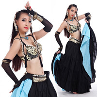ATS 2018 Tribal Belly Dance Clothes for Women 4 Pieces Outfit Set Antique Bronze Beads Bra Belt Skirts Gypsy Dance Costumes