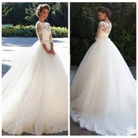 Appliques de dentelle de demi-manches formelles 2021 A-Line Robes de mariée Robes de mariée perlée Robes de mariée sur mesure Vestidos de Mariage