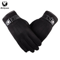 Better warm winter mens gloves Faux suede Leather Black leat...