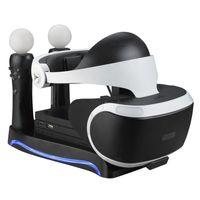 4 in1 PS VR 2ª Geração Suporte Vertical PS4 VR Óculos conector de armazenamento Kit Joystick estação de carregamento com luzes de refrigeração