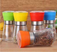 6 Renkler manuel biber tatlandırma Değirmeni Öğütücü Mutfak Aletleri Için Şeffaf Cam Çekirdek Baharat Şişe Mutfak Alet Biber