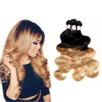 T 1B / 27 # Dark Root Honig Blonde Körperwelle Ombre Menschliche Haarwebart 3 Bundles 100g / Pcs