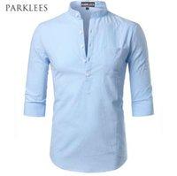 أزياء القطن الكتان قميص الرجال ملابس عادية سليم صالح قمصان رجالي الوقوف الياقة الصيف قصيرة الأكمام قميص هينلي قميص أوم