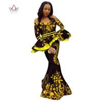 Kadınlar Için 2019 Afrika Etek Setleri Dashiki Bazin Riche Patchwork 2 Parça Setleri Çiçek Ruffles Afrika Geleneksel Giyim WY2351