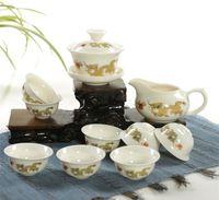 Hot di alta qualità Drago D'Oro Bianco Latte Giada Porcellana Ceramica Kung Fu Tea Set Tazza Bone China Bicchieri Regalo Imballaggio preferenza