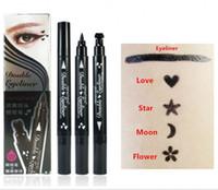 Fundação Maquiagem Delineador Líquido Preto + Selos em 4 Forma 2 em 1 Lápis de Olho Lápis Make up maquiagem
