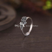 Women 925 Sterling Silver Vintage 3D Rose Ring Courtship Eng...