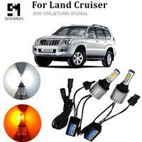 Бесплатная доставка автомобилей светодиодные лампы DRL дневного света передние поворотники лампы для Toyota Cruiser Prado 150 T20 WY21W 7440 белый + желтый