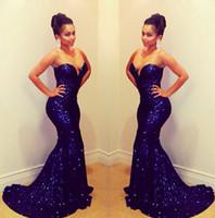 Bling Bling Blu Paillettes Lunghe Prom Ball Abiti Senza Spalline Mermaid Modest 2 K Abiti Da Sera Formale Celebrity Dress Abiti de