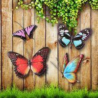 8 Photos Wholesale Garden Plastic Butterflies Decoration   Metal Colourful  Butterflies Wall Art Garden Fence Home Ornament Decorations