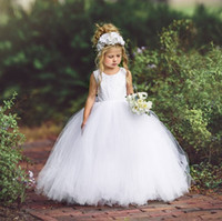 Fashion White Backless Lace Flower Girls Dresses For Wedding Cheap Toddler Pageant Gowns Floor Length Tulle Ball Gown Kids Prom Dress