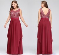 Burgundy Plus Size Women Occasion Evening Prom Dresses Scoop...