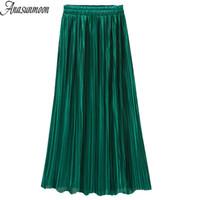 Anasunmoon Faltenröcke Mode Grüne farbe Hohe Taille Schwarz Midi Rock Elastizität Sommer Herbst Vintage Party Damen Kleidung