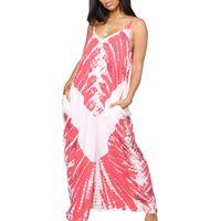 새로운 패션 여름 여성 드레스 섹시한 V 넥 프린트 민소매 백 레스 레이디 루스 캐주얼 드레스 비치 롱 파티 드레스 Boho Maxi Long 드레스