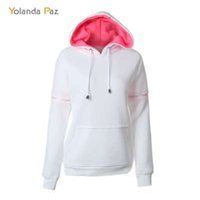 Yolanda Paz Novas mulheres cor sólida hoodies new white pullover outono inverno casual camisola com capuz S-XXL boa qualidade tops