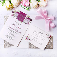 New Wedding Gold Glitter Invitations Cards With Burgundy Rib...