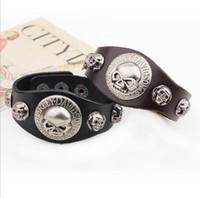 Череп Rivet Широкий кожаный браслет ретро манжета веревочные браслеты Cowboy Rider Harley МОТОЦИКЛОВ Punk Браслеты OOA4923