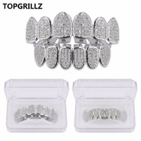 TopGrillz Gold Color Plated CZ Micro Pave Exclusive Роскошные Topbottom Gold Grillz Набор Closed Greats Greills