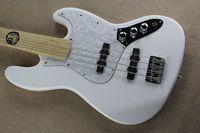 الغيتار مصنع جديد مخصص fretless القيقب وحة الفريتس الجاز 4 سلاسل الأبيض باس غيتار عكس هيادستوك شحن مجاني 1 2