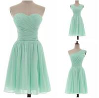 Schatz Chiffon plissezierte kurze Brautjungfernkleider Mint Land Brautjungfernkleider für Hochzeitsreißer zurück 100% echtes Foto unter 50 $