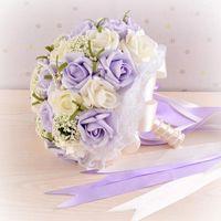 Красивый фиолетовый свадебный букет все ручной свадебный цветок свадебные букеты искусственный жемчуг цветок роза Рамос-де-новия