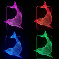 Delfín Visualmente colorido Originalidad de la lámpara 3D Nuevo Extraño Estereoscópico LED Luz de la noche Luxo Jr Fácil de usar 25gb dd