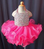 2019 magnifique robe de bal de balle robes de pageant de fille pour filles perlées col de cache dos back organza volants tasse gâteau fleur girls robes
