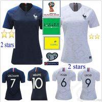 2018 World Copa Mulheres Jersey Griezmann Pogba Matuidi Varane Lloris Giroud Kante Mbappe Homem Personalizado Kids Juventude Camisa de Futebol