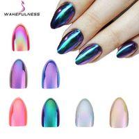 WAKEFULNESS 12 Adet Holografik Stiletto Yanlış Nails İpuçları Ayna Krom Pigment Etkisi UV Jel Sahte Nail Art Araçları