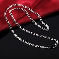 16- 30inch wholesale price Silver Plated 4MM Flat men women c...