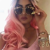 Bon marché rose perruques de cheveux résistant à la chaleur lâche bouclés dentelle avant perruque ombre afro crépus bouclés dentelle synthétique avant ombre noir à la lumière FZP76
