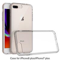 Casos traseros resistentes a los rasguños híbridos con parachoques de amortiguador para el iPhone 7 8 6 más la cubierta cristalina clara