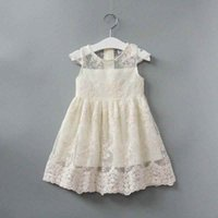 2018 Fashion Cap Sleeve Lace Girls Dress Ivory Cute Lace Kid...