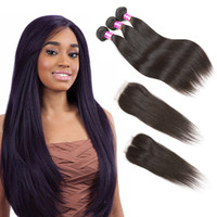 Cheap Brazilian Virgin Hair Straight 3 Bundles with Closure ...