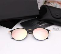 3578 New Popular Rodada Óculos De Sol Famoso Das Mulheres Dos Homens Designer de Luxo Óculos De Sol De Metal Moda Semi-Rimless Óculos De Sol UV400 Verão Óculos