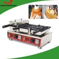 4 Balık Dondurma Taiyaki Makinesi Döner Sıcaklık Kontrollü Taiyaki Pan Izgara Açık Ağız Dondurma Waffle Koni Makinesi Snack Ekipmanları